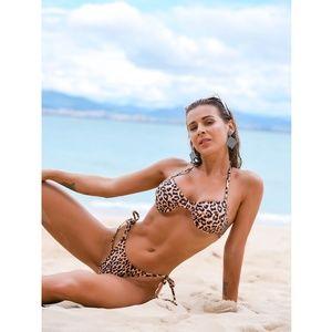 Cheetah Print Halter Ties 2 Piece Bikini
